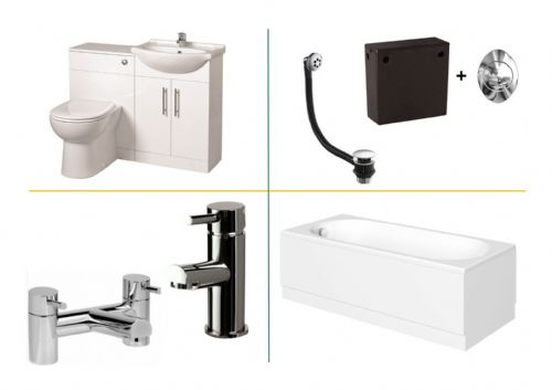 Bathroom Furniture Suite Gloss Inc Pan, Seat, Cistern, Tap
